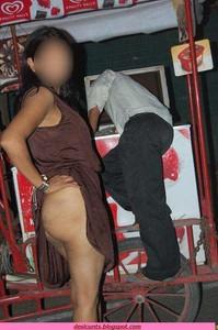wife in Desi public flashing